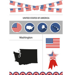 Map of washington set of flat design icons vector