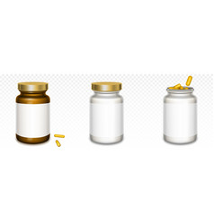 medicine bottles with golden lids and yellow pills vector image