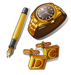 mens accessories - gold watch pen and cufflinks vector image