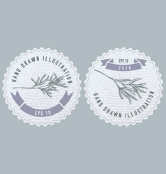 Monochrome labes with rosemary stock vector
