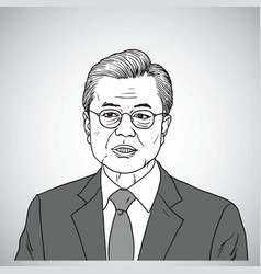 moon jae in portrait drawing vector image