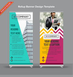 Multicolored chevron rollup banner with artistic vector
