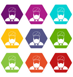 Muslim preacher icon set color hexahedron vector