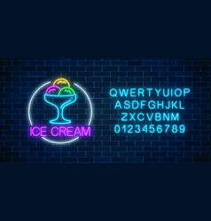 Neon glowing sign of icecream in circle frame and vector