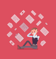 Office worker and paperwork overload vector