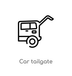 Outline car tailgate icon isolated black simple vector