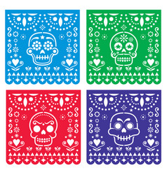 Papel picado design with sugar skulls mexican vector