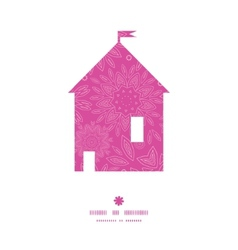 Pink abstract flowers texture house silhouette vector