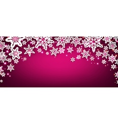 Pink winter banner with snowflakes vector