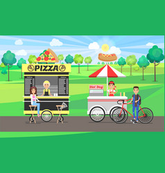 Pizza and hot dog street food vector