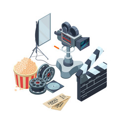 production of video isometric concept of vector image