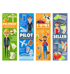 professions of engineer or pilot seller or farmer vector image