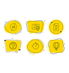 Question mark timer and update data icons set vector