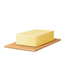 Realistic stick of butter on cutting board vector