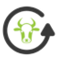 Refresh bull halftone icon vector