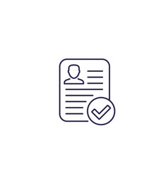 Resume approved line icon vector