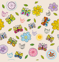 seamless pattern with doodle flowers and vector image