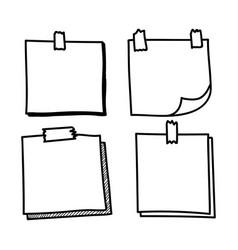 set hand drawn doodle notepaper vector image