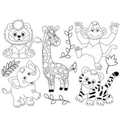 Set jungle animals vector