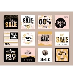 Set of artistic creative autumn sale cards vector image