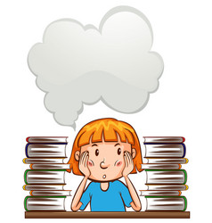Speech bubble template with girl and books vector