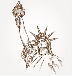 statue of liberty hand dawn vector image