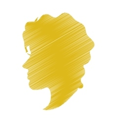 Striped woman head profile design vector