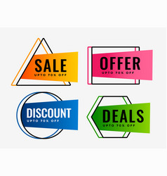 Stylish set of sale offers and deals labels vector