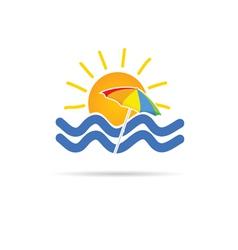 Sun icon with umbrella and sea vector
