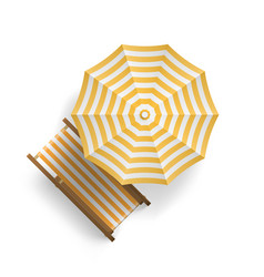 sun lounger under an umbrella on beach top view vector image
