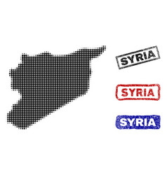 syria map in halftone dot style with grunge vector image