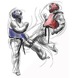 TaeKwon-Do Hand drawn calligraphic and grunge vector