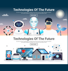 Technologies future horizontal banners vector