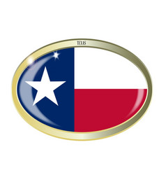 Texas state flag oval button vector