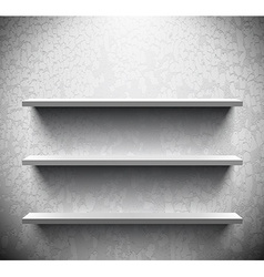 Three lightened shelves on cracked wall vector