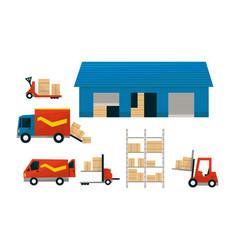 transportation service and storage set logistics vector image