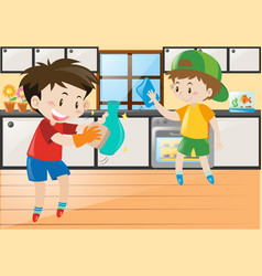 two boys cleaning in the kitchen vector image