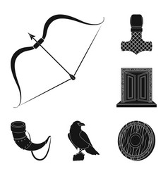 Vikings and attributes black icons in set vector