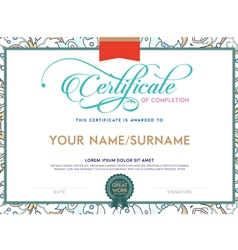 vintage color and floral print detailed certificat vector image