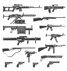 Weapons And Guns Monochrome Set vector image