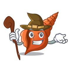 Witch long shell mascot cartoon vector