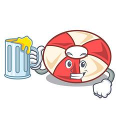 With juice swim tube mascot cartoon vector