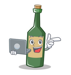 with laptop wine bottle character cartoon vector image