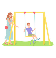 Woman walking with son boy swinging on a slide vector