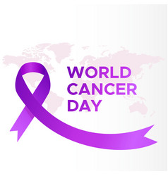 World cancer day map lettering banner we can i vector