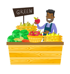 Young african-american worker of grocery store vector
