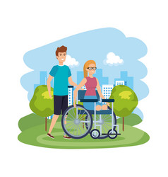 Young woman in wheelchair with male helper vector