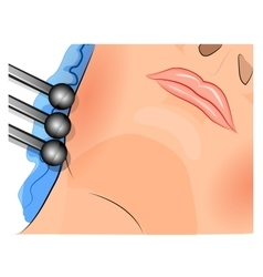 female face and apparatus for vibratory massage vector image vector image