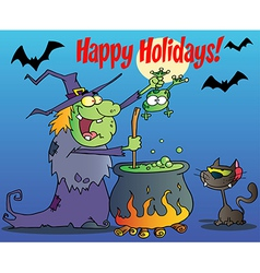 Happy Holidays Greeting Over A Witch vector image vector image