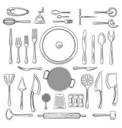 kitchen utensils or kitchenware sketch vector image